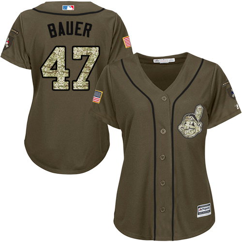 Women's Majestic Cleveland Indians #47 Trevor Bauer Authentic Green Salute to Service MLB Jersey