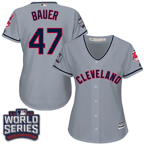 Women's Majestic Cleveland Indians #47 Trevor Bauer Authentic Grey Road 2016 World Series Bound Cool Base MLB Jersey