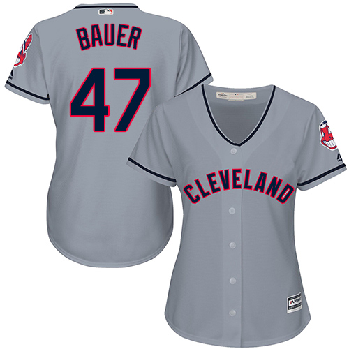 Women's Majestic Cleveland Indians #47 Trevor Bauer Authentic Grey Road Cool Base MLB Jersey