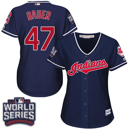 Women's Majestic Cleveland Indians #47 Trevor Bauer Authentic Navy Blue Alternate 1 2016 World Series Bound Cool Base MLB Jersey
