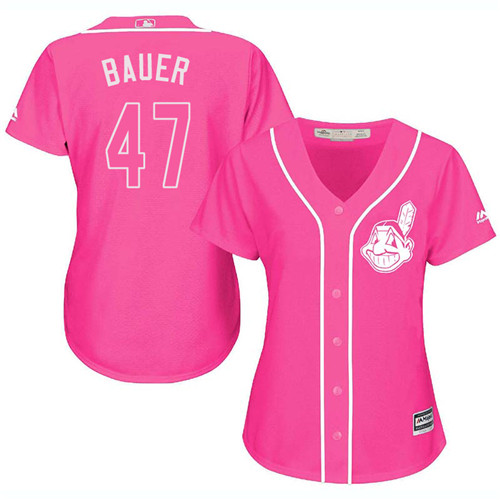 Women's Majestic Cleveland Indians #47 Trevor Bauer Authentic Pink Fashion Cool Base MLB Jersey
