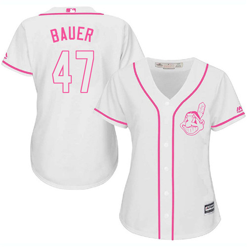 Women's Majestic Cleveland Indians #47 Trevor Bauer Authentic White Fashion Cool Base MLB Jersey