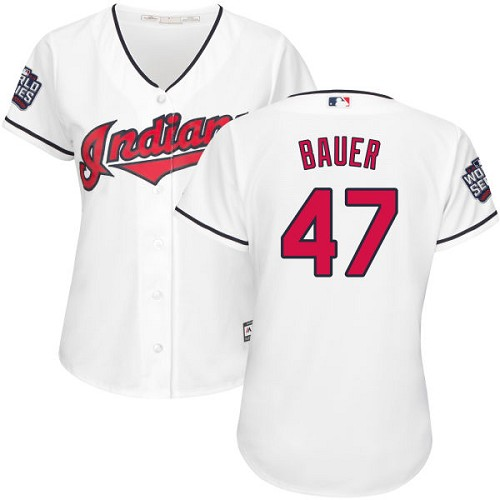 Women's Majestic Cleveland Indians #47 Trevor Bauer Authentic White Home 2016 World Series Bound Cool Base MLB Jersey