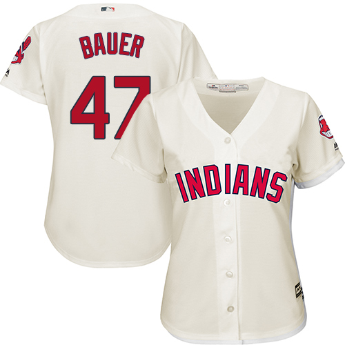 Women's Majestic Cleveland Indians #47 Trevor Bauer Replica Cream Alternate 2 Cool Base MLB Jersey