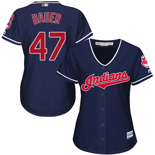 Women's Majestic Cleveland Indians #47 Trevor Bauer Replica Navy Blue Alternate 1 Cool Base MLB Jersey