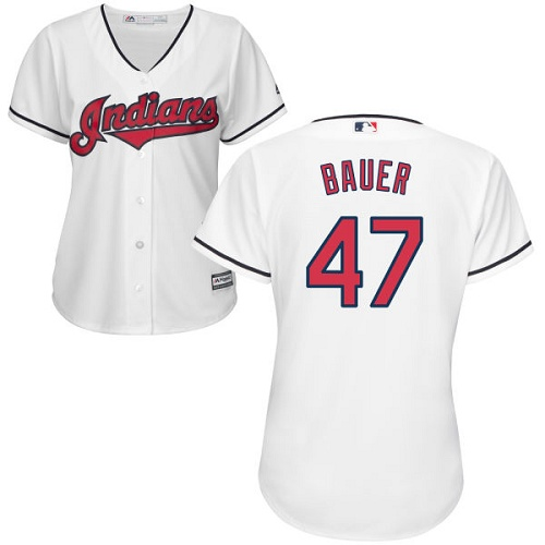 Women's Majestic Cleveland Indians #47 Trevor Bauer Replica White Home Cool Base MLB Jersey