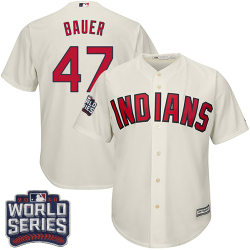 Youth Majestic Cleveland Indians #47 Trevor Bauer Authentic Cream Alternate 2 2016 World Series Bound Cool Base MLB Jersey