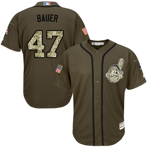 Youth Majestic Cleveland Indians #47 Trevor Bauer Authentic Green Salute to Service MLB Jersey