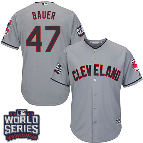 Youth Majestic Cleveland Indians #47 Trevor Bauer Authentic Grey Road 2016 World Series Bound Cool Base MLB Jersey