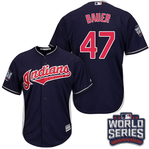 Youth Majestic Cleveland Indians #47 Trevor Bauer Authentic Navy Blue Alternate 1 2016 World Series Bound Cool Base MLB Jersey