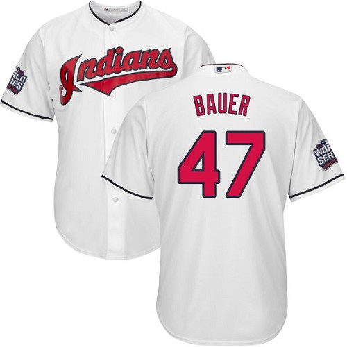 Youth Majestic Cleveland Indians #47 Trevor Bauer Authentic White Home 2016 World Series Bound Cool Base MLB Jersey