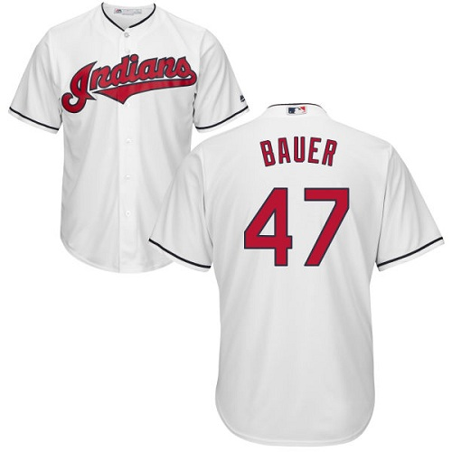 Youth Majestic Cleveland Indians #47 Trevor Bauer Authentic White Home Cool Base MLB Jersey