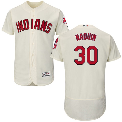 Men's Majestic Cleveland Indians #30 Tyler Naquin Cream Flexbase Authentic Collection MLB Jersey