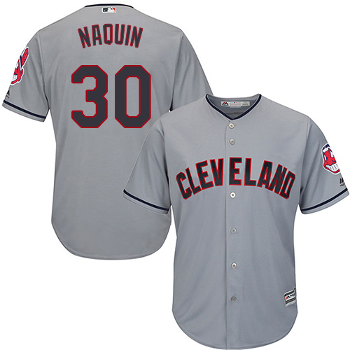 Men's Majestic Cleveland Indians #30 Tyler Naquin Replica Grey Road Cool Base MLB Jersey