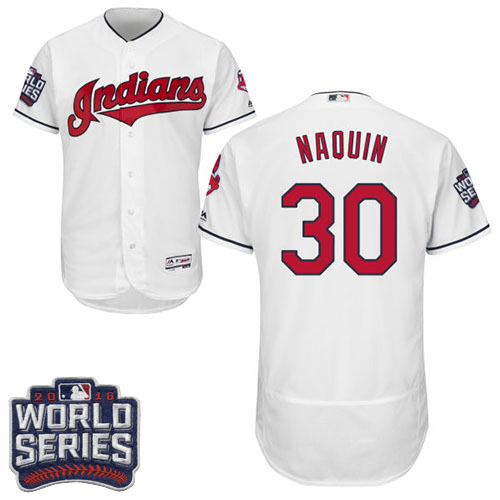 Men's Majestic Cleveland Indians #30 Tyler Naquin White 2016 World Series Bound Flexbase Authentic Collection MLB Jersey