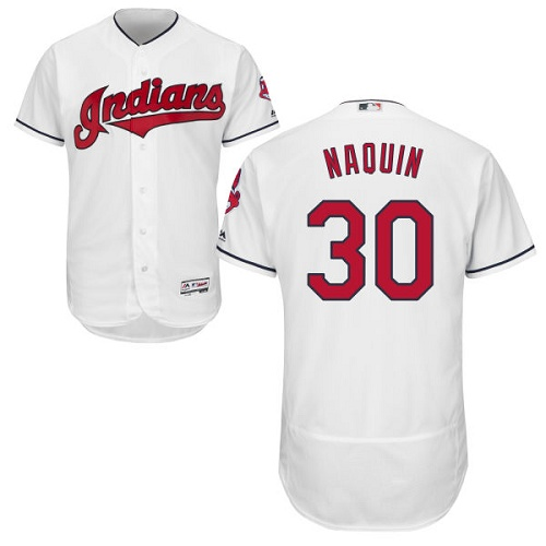 Men's Majestic Cleveland Indians #30 Tyler Naquin White Flexbase Authentic Collection MLB Jersey