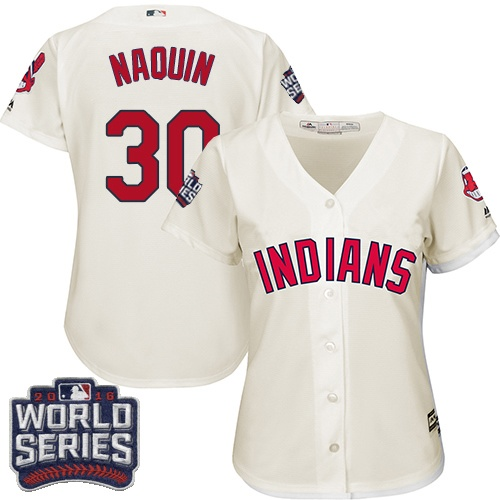 Women's Majestic Cleveland Indians #30 Tyler Naquin Authentic Cream Alternate 2 2016 World Series Bound Cool Base MLB Jersey