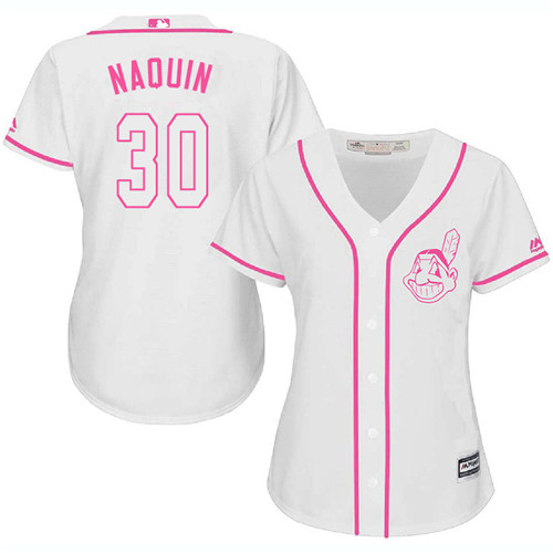 Women's Majestic Cleveland Indians #30 Tyler Naquin Authentic White Fashion Cool Base MLB Jersey