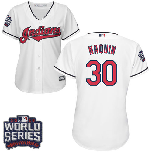 Women's Majestic Cleveland Indians #30 Tyler Naquin Authentic White Home 2016 World Series Bound Cool Base MLB Jersey