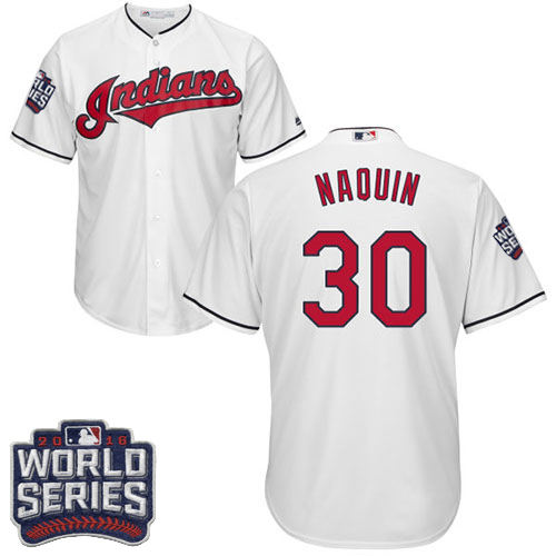 Youth Majestic Cleveland Indians #30 Tyler Naquin Authentic White Home 2016 World Series Bound Cool Base MLB Jersey