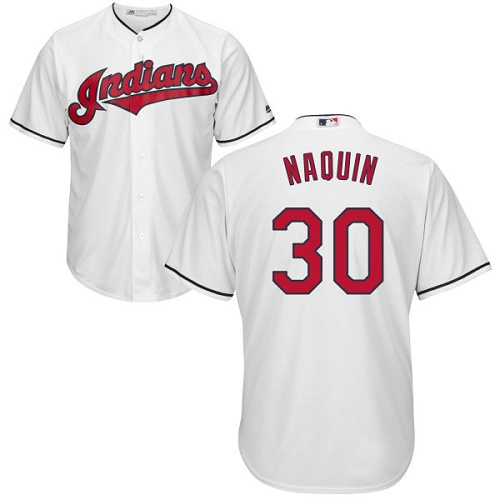 Youth Majestic Cleveland Indians #30 Tyler Naquin Replica White Home Cool Base MLB Jersey