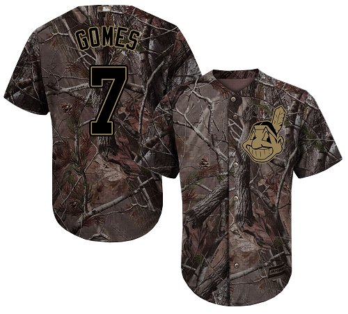 Men's Majestic Cleveland Indians #7 Yan Gomes Authentic Camo Realtree Collection Flex Base MLB Jersey