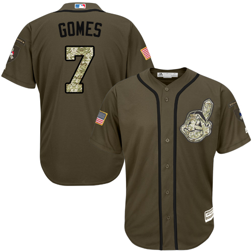 Men's Majestic Cleveland Indians #7 Yan Gomes Authentic Green Salute to Service MLB Jersey
