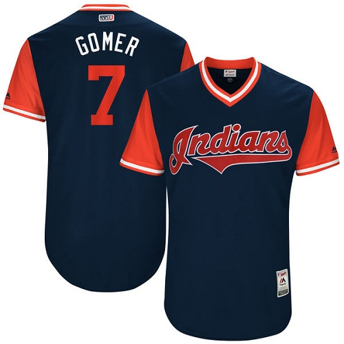 Men's Majestic Cleveland Indians #7 Yan Gomes