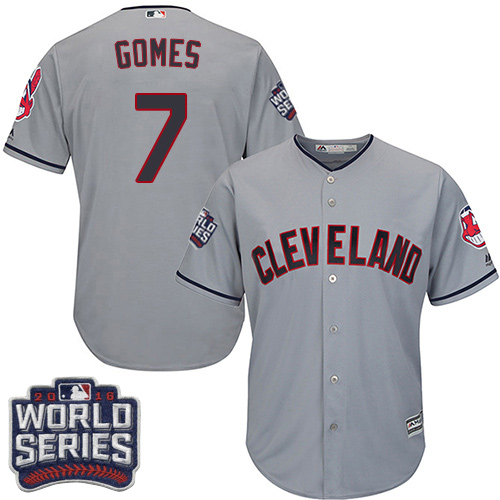 Men's Majestic Cleveland Indians #7 Yan Gomes Grey 2016 World Series Bound Flexbase Authentic Collection MLB Jersey