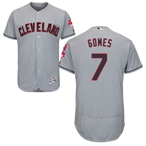 Men's Majestic Cleveland Indians #7 Yan Gomes Grey Road Flex Base Authentic Collection MLB Jersey