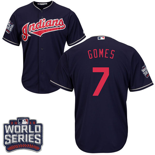 Men's Majestic Cleveland Indians #7 Yan Gomes Navy Blue 2016 World Series Bound Flexbase Authentic Collection MLB Jersey