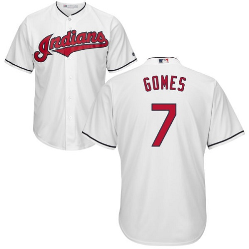 Men's Majestic Cleveland Indians #7 Yan Gomes Replica White Home Cool Base MLB Jersey