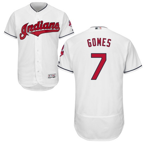 Men's Majestic Cleveland Indians #7 Yan Gomes White Home Flex Base Authentic Collection MLB Jersey