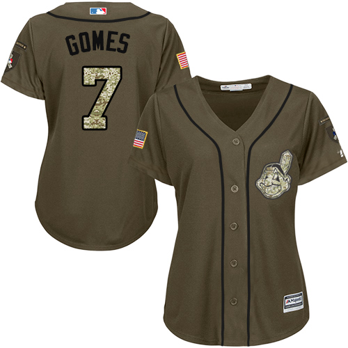 Women's Majestic Cleveland Indians #7 Yan Gomes Authentic Green Salute to Service MLB Jersey