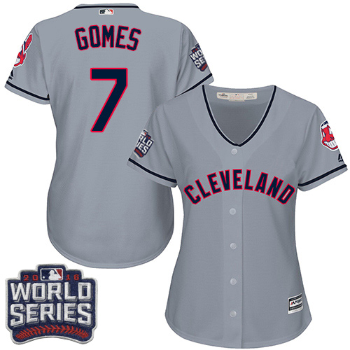 Women's Majestic Cleveland Indians #7 Yan Gomes Authentic Grey Road 2016 World Series Bound Cool Base MLB Jersey