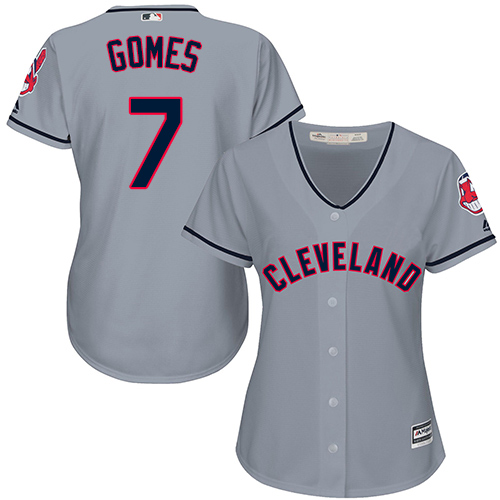 Women's Majestic Cleveland Indians #7 Yan Gomes Authentic Grey Road Cool Base MLB Jersey