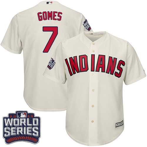 Youth Majestic Cleveland Indians #7 Yan Gomes Authentic Cream Alternate 2 2016 World Series Bound Cool Base MLB Jersey