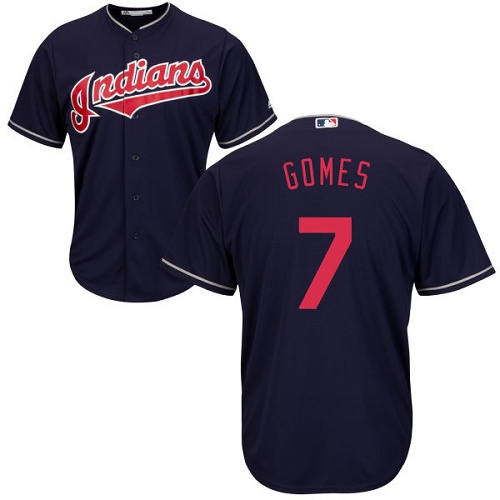 Youth Majestic Cleveland Indians #7 Yan Gomes Authentic Navy Blue Alternate 1 Cool Base MLB Jersey