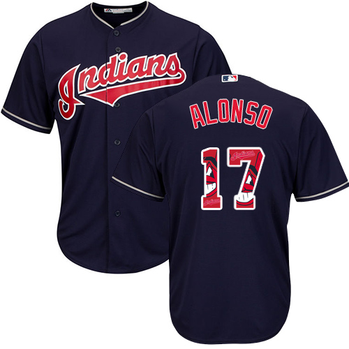 Men's Majestic Cleveland Indians #17 Yonder Alonso Authentic Navy Blue Team Logo Fashion Cool Base MLB Jersey