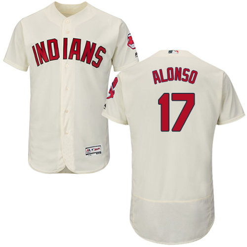 Men's Majestic Cleveland Indians #17 Yonder Alonso Cream Alternate Flex Base Authentic Collection MLB Jersey