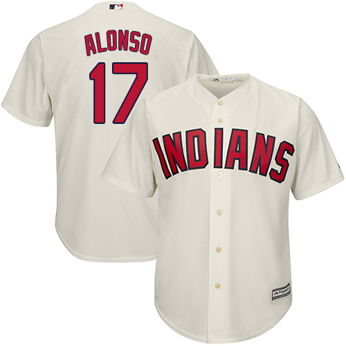 Men's Majestic Cleveland Indians #17 Yonder Alonso Replica Cream Alternate 2 Cool Base MLB Jersey