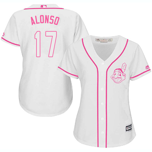 Women's Majestic Cleveland Indians #17 Yonder Alonso Authentic White Fashion Cool Base MLB Jersey
