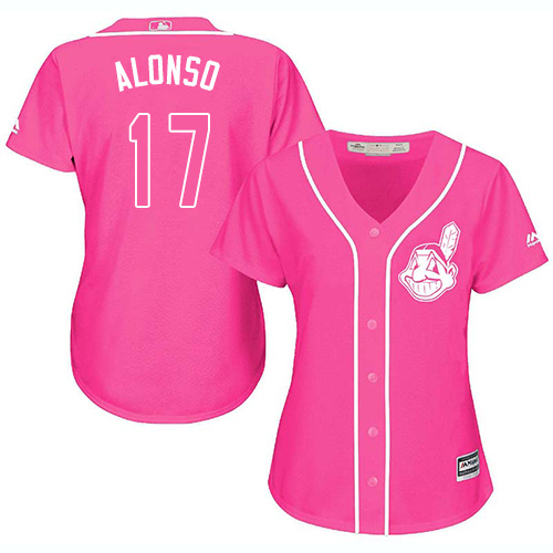 Women's Majestic Cleveland Indians #17 Yonder Alonso Replica Pink Fashion Cool Base MLB Jersey