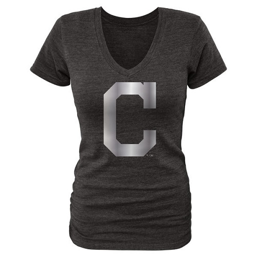 MLB Cleveland Indians Fanatics Apparel Women's Platinum Collection V-Neck Tri-Blend T-Shirt - Black