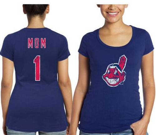 MLB Cleveland Indians Majestic Threads Women's Mother's Day #1 Mom T-Shirt - Navy Blue
