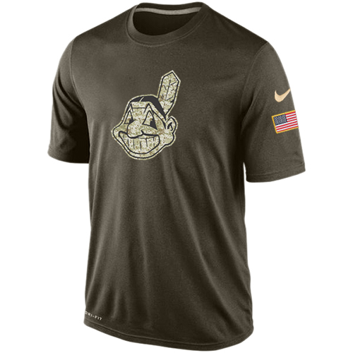 MLB Cleveland Indians Nike Dri-Fit Olive Salute To Service KO Performance T-Shirt