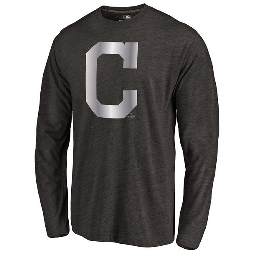 MLB Cleveland Indians Platinum Collection Long Sleeve Tri-Blend T-Shirt - Black