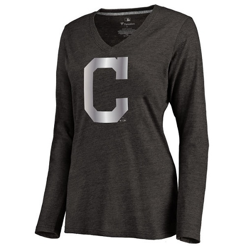 MLB Cleveland Indians Women's Platinum Collection Long Sleeve V-Neck Tri-Blend T-Shirt - Black