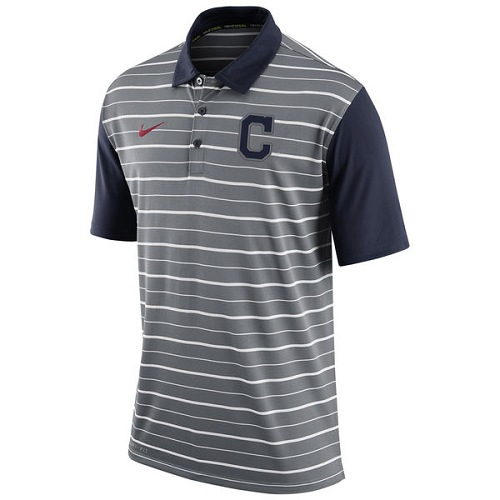 MLB Men's Cleveland Indians Nike Gray Dri-FIT Stripe Polo