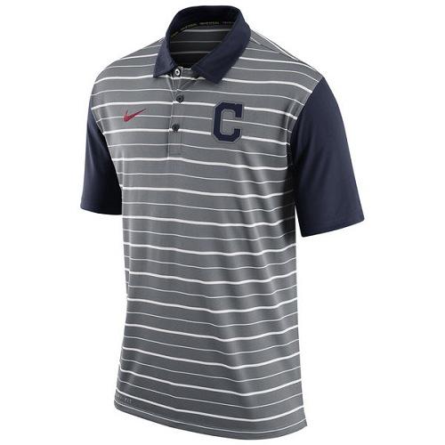 MLB Men's Cleveland Indians Nike Gray Dri-FIT Stripe Polo
